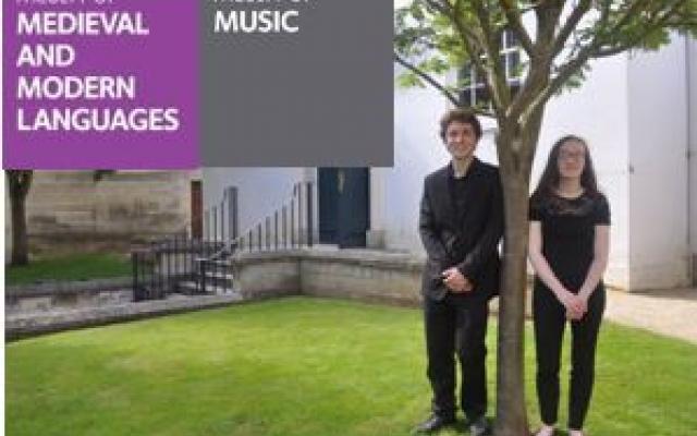 Adam Turner and Alice Buhaenko, the undergraduate composers, outside the Holywell Music Room.