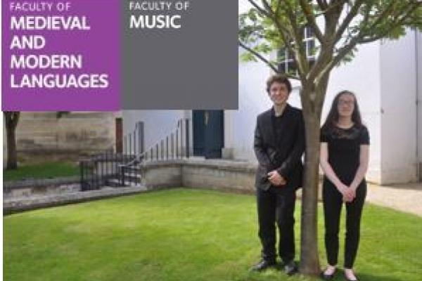 Adam Turner and Alice Buhaenko, the undergraduate composers, outside the Holywell Music Room.