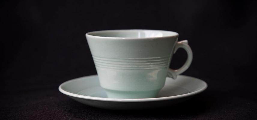 Woods Ware 'Beryl' style, teacup and saucer, 1940's/1950's - Photograph by Fran Monks.