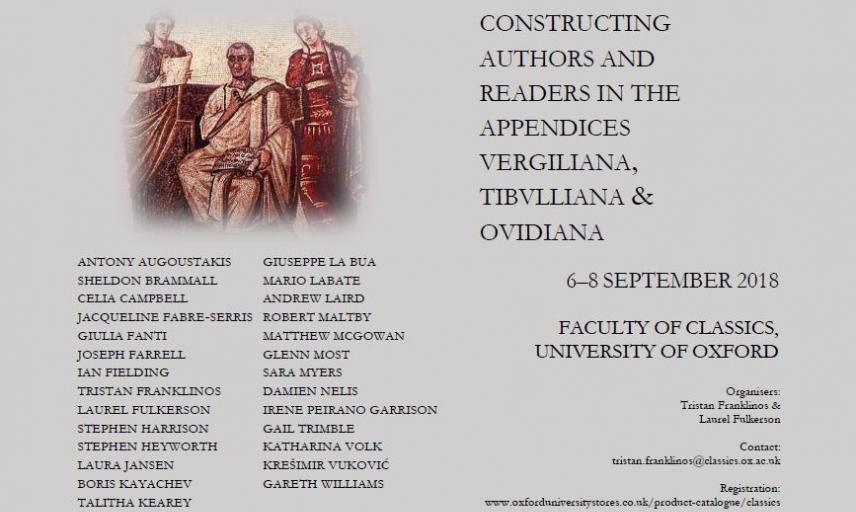constructing authors and readers in the appendices vergiliana tibulliana ovidiana 6 8 september poster