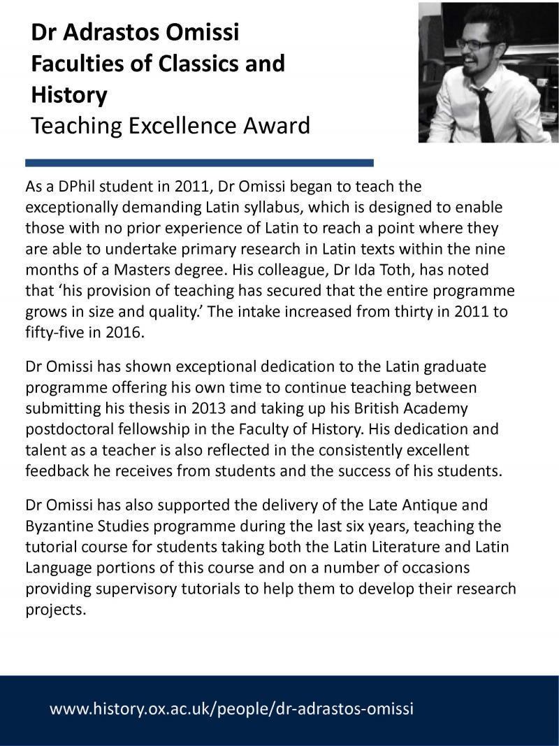Teaching Excellence Award - Adrastos Omissi