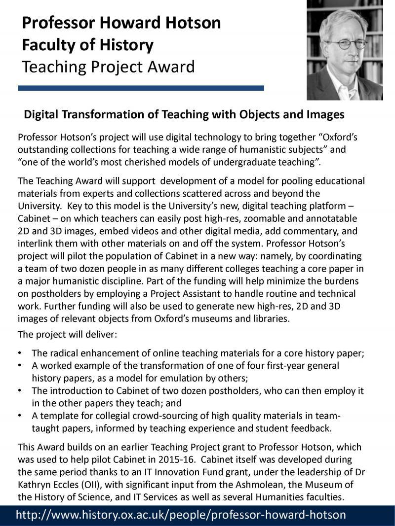 Teaching Project Awards - Howard Hotson
