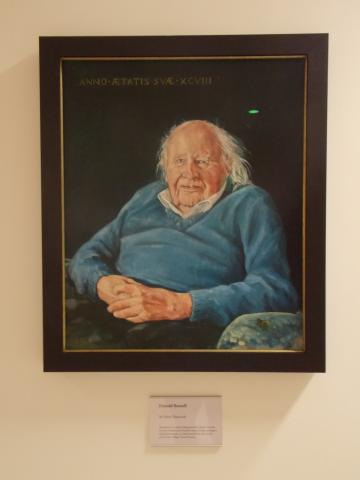 Portrait of Professor Donald Russell by Mark Hancock on display at the Ioannou Centre. Image (c) Faculty of Classics, Oxford University