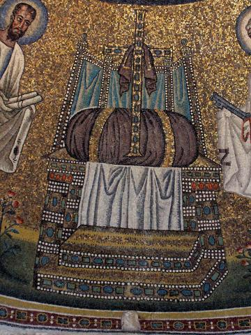 Throne with a jeweled crucifix resting on a purple cushion; Baptistry of the Arians, Ravenna, Italy