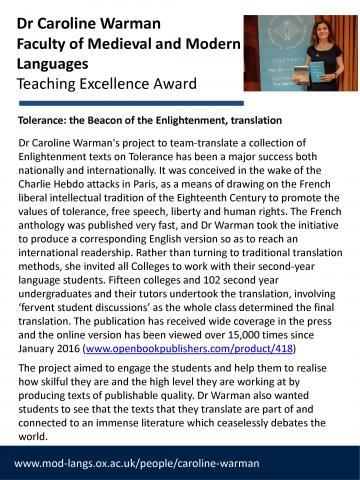 Teaching Excellence Award - Caroline Warman