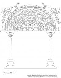 drawing garima gospels canon table with vines